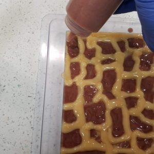 Giraffe CP Soap: Continue to Layer the Colors