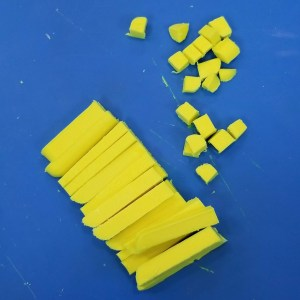 Dreama Melt and Pour Soap Recipe: Cutting Up the Yellow Soap