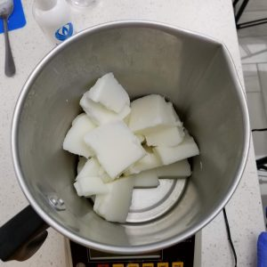 Weighing the Candle Wax For the Scoopable Wax Melts Recipe