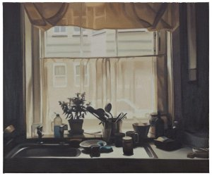 Painting of window and kitchen sink