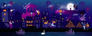 illustration of buildings, hot air balloons, dancers and swan