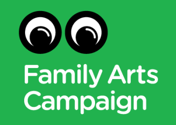 Graphic of black and white simplified human eyes on a green background with white text saying 'Family Arts Campaign'.