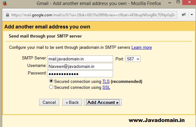 Smtp server details