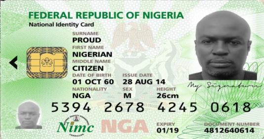 Example of National Identity Card with NIN