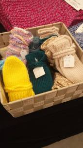 Visit Jellico crafts for thumbless mitts. Easy off and and without the struggle of fitting little fingers in a glove! Judy is with us December 7th and every Saturday in December!
