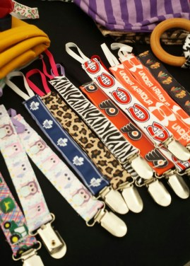 Kenzie Sue's Hairclips and accessories! These are wonderful and handy pacifier clips! Find her at the Market December 7th