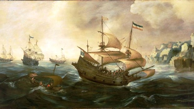 Andries-van-Eertvelt-xx-Dutch-Ships-Running-Down-Onto-a-Rocky-Shore