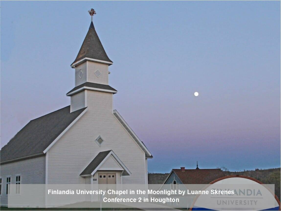 Finlandia University Chapel in the moonlight by Luanne Skrenes