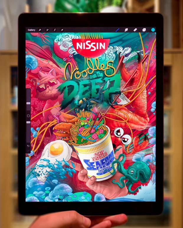 nissin, noodles, seafood, ngon, manchester agency, 3D design