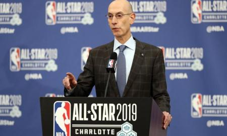 Commissioner Silver speaking at a press conference during All-Star Weekend in Charlotte about the Africa league