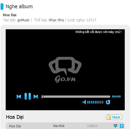 Thử click vào nghe bài nhạc đang nằm trong top hit, thì nó thế này đấy