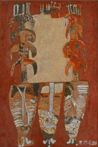 African Masks 1, an unpolished lacquer painting by Nguyen Thi Mai