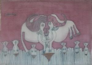 Buffalo Bull, silk painting by Nguyen Thi Mai