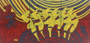 Chorus Girls, an acrylic painting by Nguyen Thi Mai