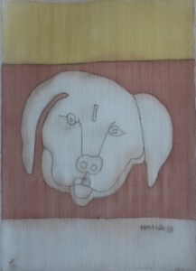 Pooch 052, silk painting by Nguyen Thi Mai