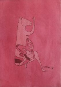 Pregnant 18, silk painting by Nguyen Thi Mai