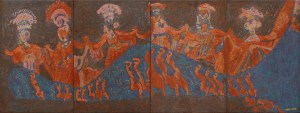 Puppet Dance 1, an unpolished lacquer painting by Nguyen Thi Mai