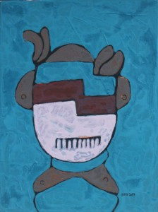 Three Wise Monkeys 15, an acrylic painting by Nguyen Thi Mai