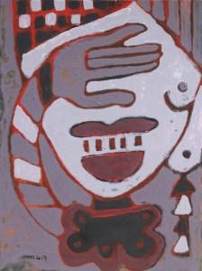 Three Wise Monkeys 17, an acrylic painting by Nguyen Thi Mai