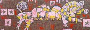 Wood Pig, acrylic painting by Nguyen Thi Mai