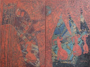 World Of Women 3, an unpolished lacquer painting by Nguyen Thi Mai