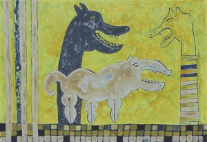 Zodiac Dog, an acrylic on canvas painting by Nguyen Thi Mai