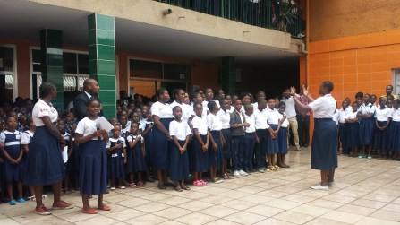 The Alfred Nobel Choir singing the Ivorian national anthem at the welcome ceremony