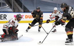 Vegas Golden Knights em partida contra Chicago Blackhawks