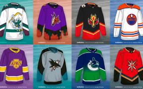 Jerseys da coleção Reverse Retro, divisão Pacífica. Da esquerda para a direita: Anaheim Ducks, Arizona Coyotes, Calgary Flames, Edmonton Oilers, Los Angeles Kings, San Jose Sharks, Vancouver Canucks e Vegas Golden Knights.