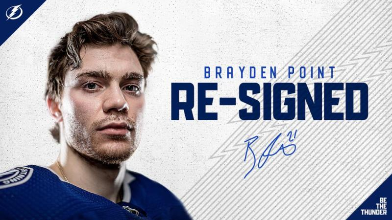 Lightning re-sign forward Brayden Point to three-year contract