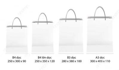 kích thước túi giấy dọc