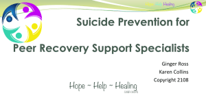 Suicide Prevention For Recovery Coaches Training and Peer Recovery Support Specialists