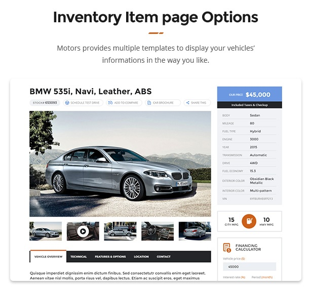 Motors WordPress Theme for Car Dealer, Rental & Classifieds site inventory item page