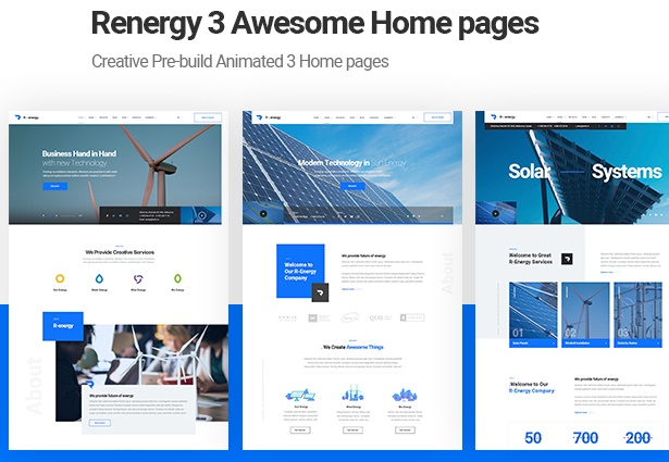 Renergy - Solar and Renewable Energy WordPress Theme home page layouts