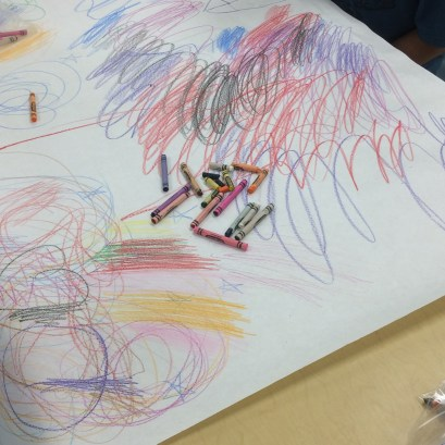 """Students work during our """"draw what you hear"""" series"""