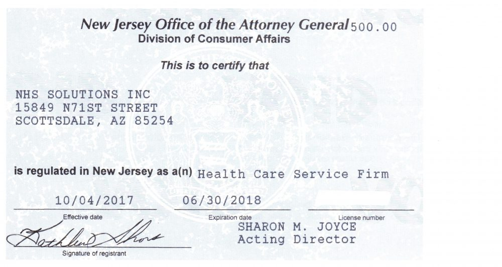 New Jersey Health Care Services Firm License Granted