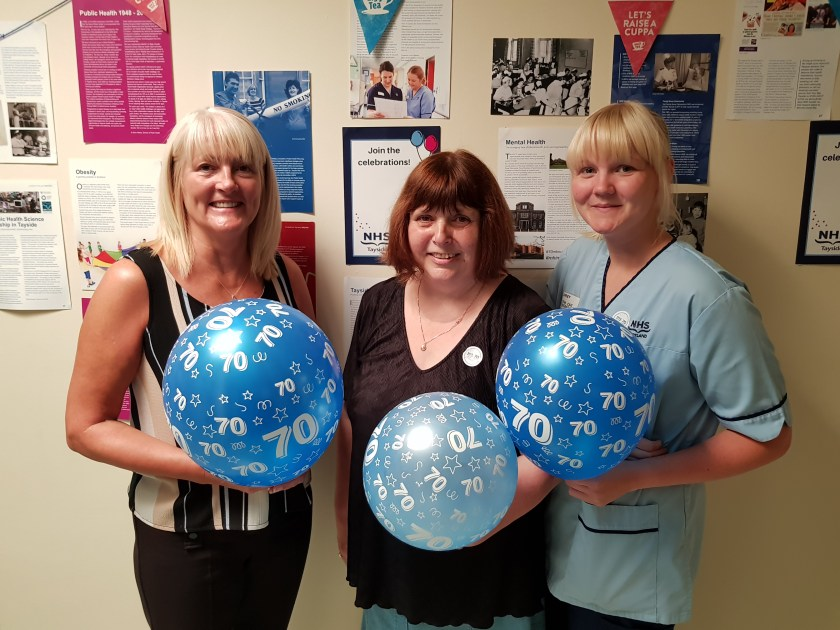 With a combined age of 70 years service in NHS Tayside Right to left Audrey Birmingham, Audrey Cuthill and Jemma Furey