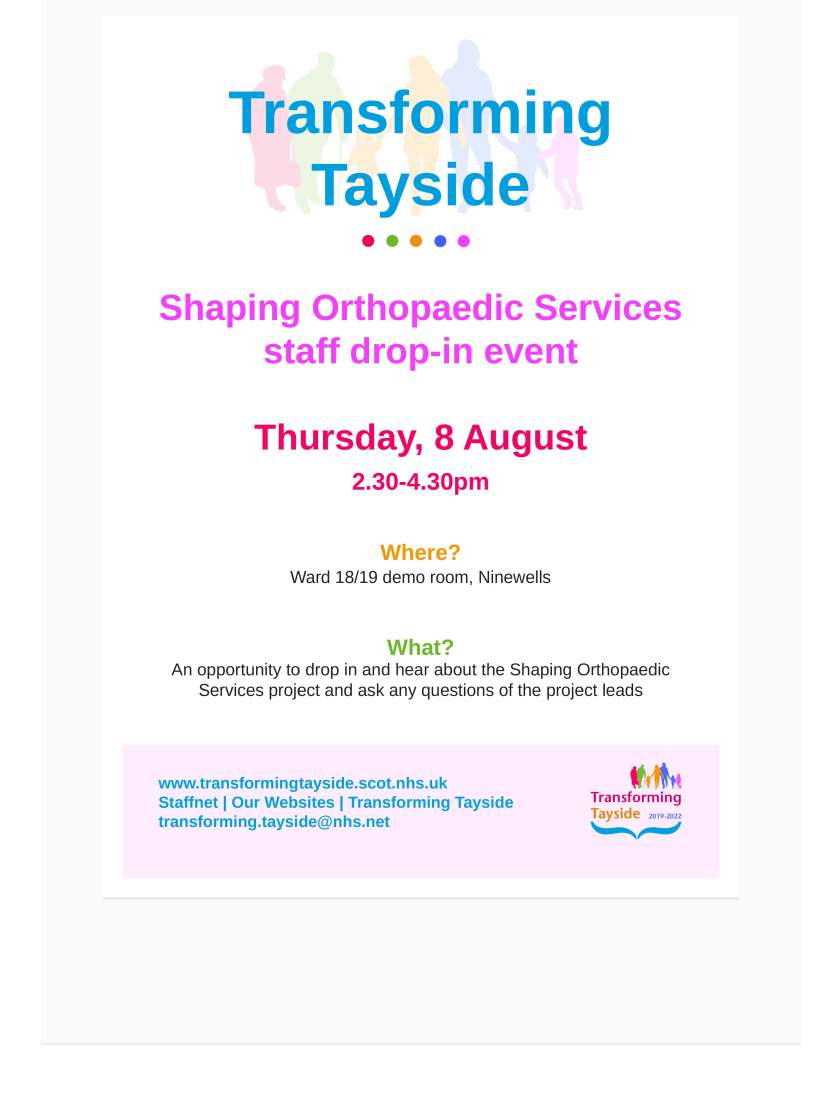 Shaping Orthopaedic Services Staff Drop In Event - Ninewells
