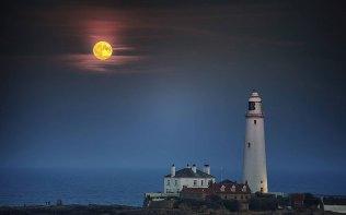 Siêu trăng trên bầu trời ở ngọn hải đăng St Mary ở Whitley Bay, Anh. Ảnh: North News & Pictures