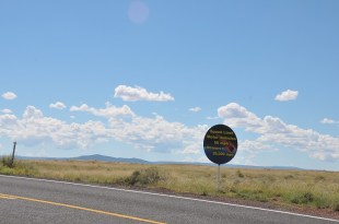 This sign is on Meteor Crater Rd which leads to Meteor Crater Natural Landmark in Arizona