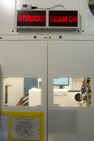 A detector at the end of a beamline taking an image of a biological sample.