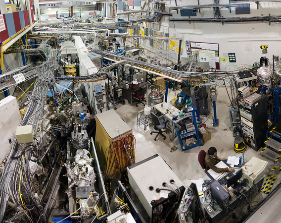 A view of the workspaces surrounding the smaller ring at Brookhavens National Synchrotron Light Source