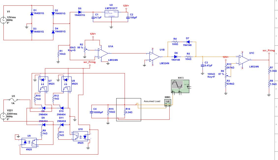 Power Supply Output Voltage 12v Using Silicon Controlled