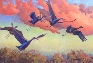 "Northern Indiana Artist Diane Overmyer, ""Flight Patterns"", Oil"