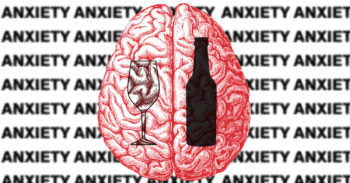Wine glass and beer bottle over brain graphic