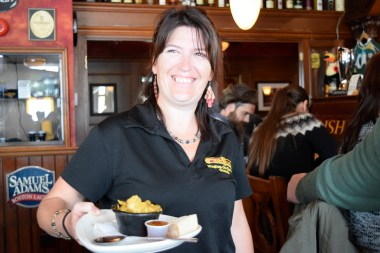 Sandy from Irish Harp Pub always has a smile on her face.