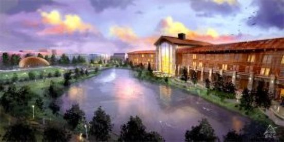 "Fast Forward: Depicted on USA Niagara's ""Niagara Experience Center"" website, the Niagara Lodge resort footprint on Goat Island is massively larger and more ambitious, containing numerous amenities such as spa and amphitheater, dining rooms and pool."