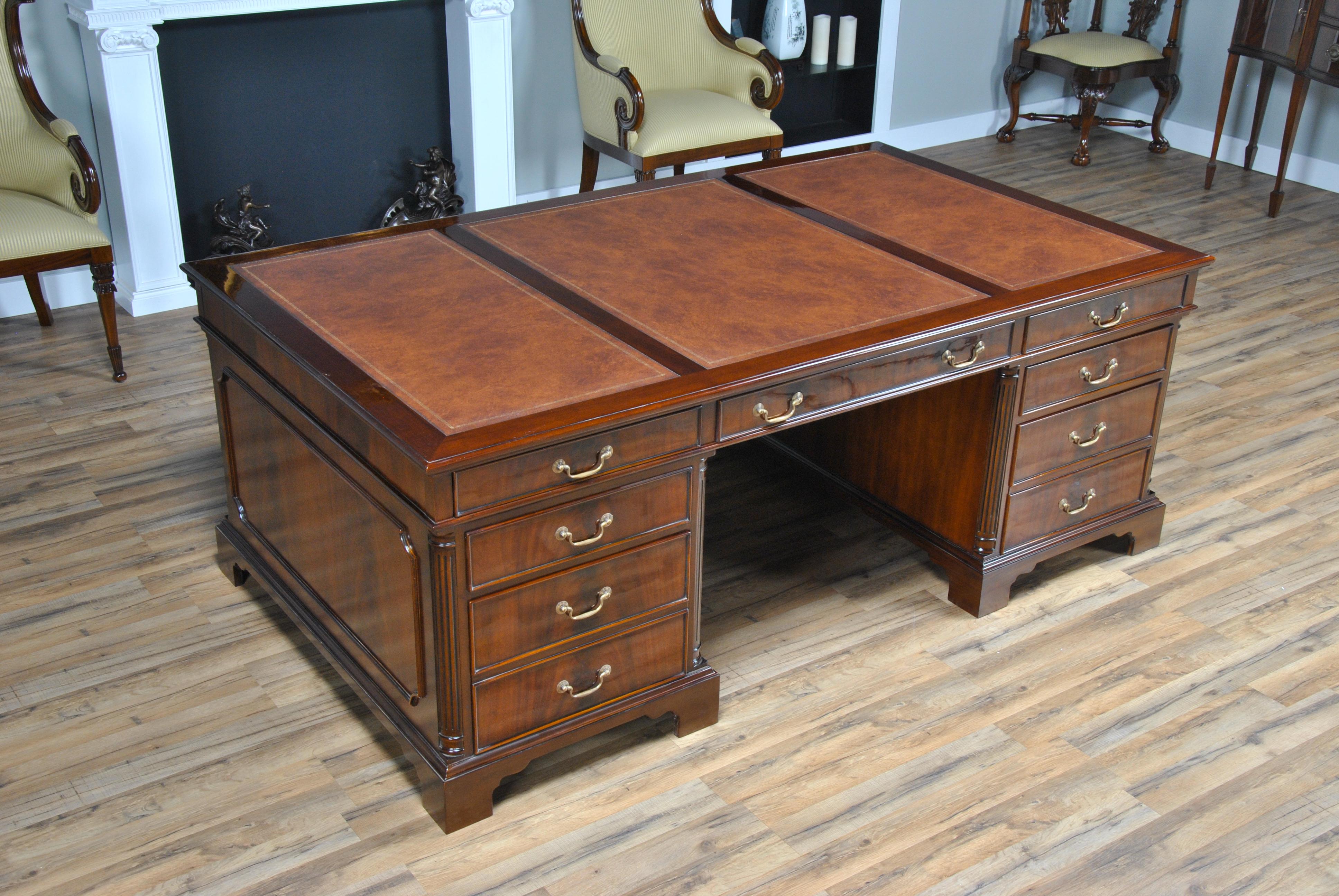 Huge Partners Desk, Niagara Furniture, Large Leather Top Desk
