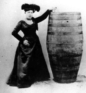 Annie Edson Taylor, Queen of the Mist, with her barrel and her cat. Photo courtesy of Niagara Falls Public Library