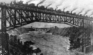 Sketch of the testing of the cantilever bridge 1883